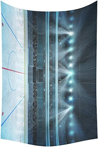 D-Story Wall Tapestry Hockey Stadium with Fans Crowd Cotton Linen Tapestry Wall Hanging 60 x 40 Wall Art Home Decor for Living Room Bedroom