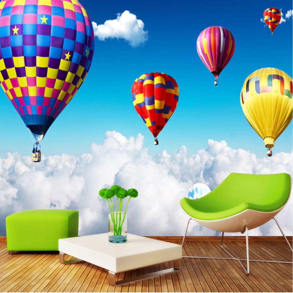 Mznm 3D Wall Mural Air Hot Balloon On The Clouds Photo Wallpaper for Kids Children's Bedroom Wall Paper Home Decor 3D Room Landscape-150X120Cm