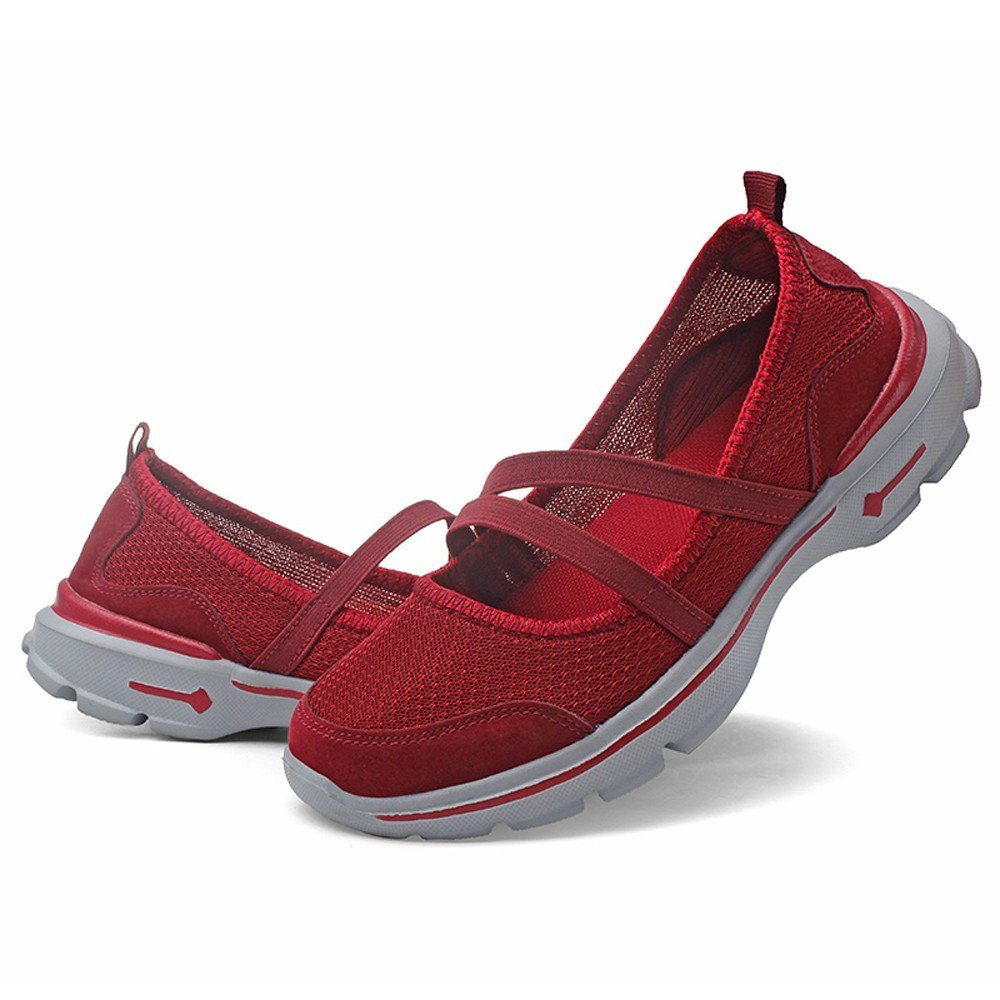 Sneakers For Womens -Clearance Sale ,Farjing Fashion Women Flats Shoes Mesh Breathable Shoes Casual Running Shoes Sneakers(US:7.5,Red)