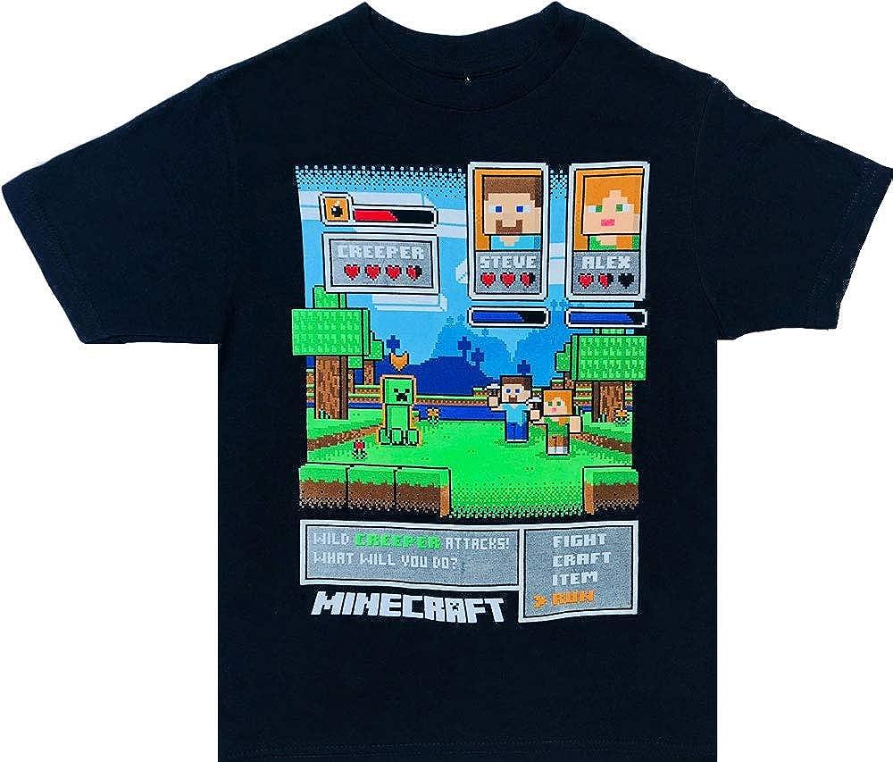 Minecraft Clothing Boys Tshirt Kids, Featuring Minecraft Alex & Steve -100% Cotton