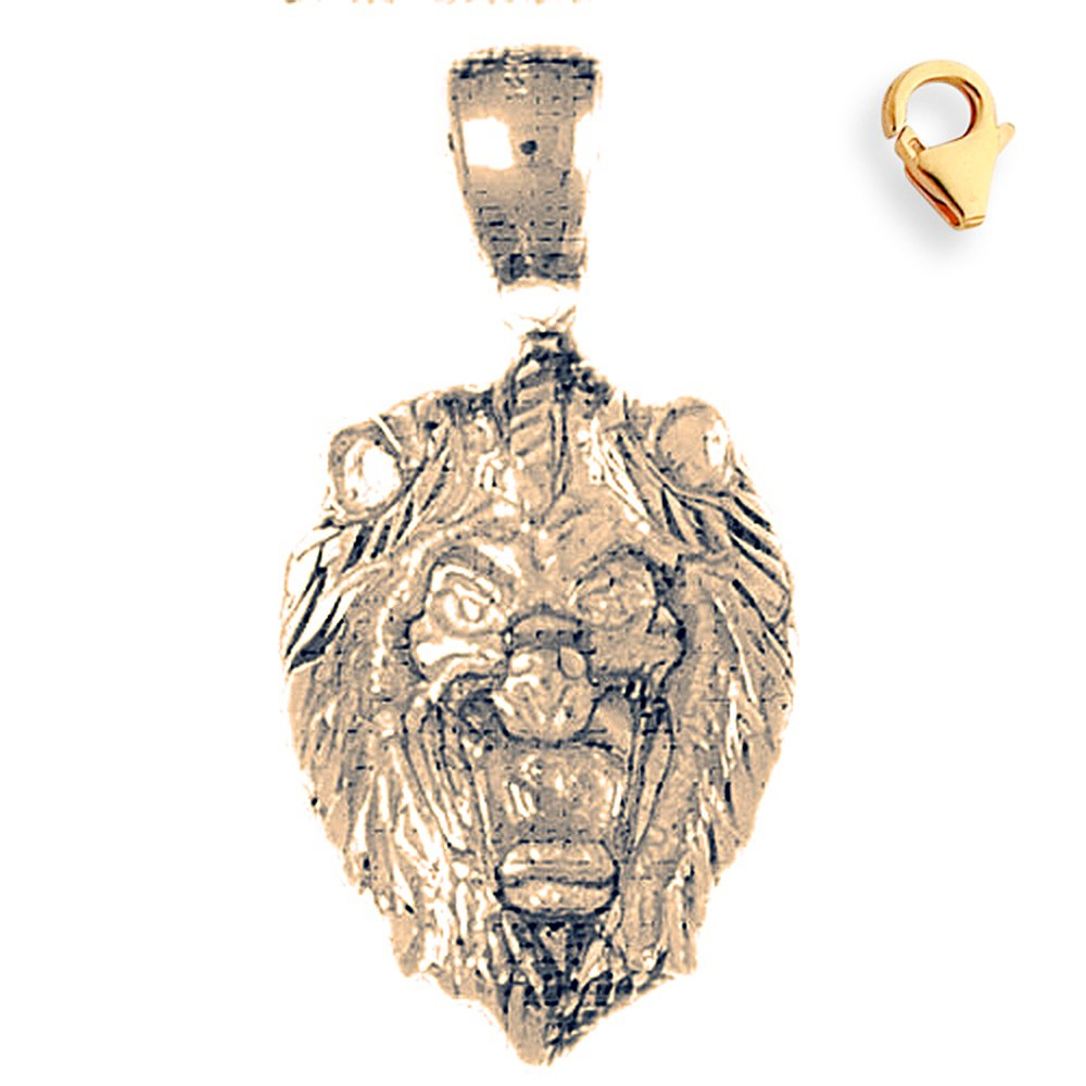 33mm Silver Yellow Plated Lion Head Charm