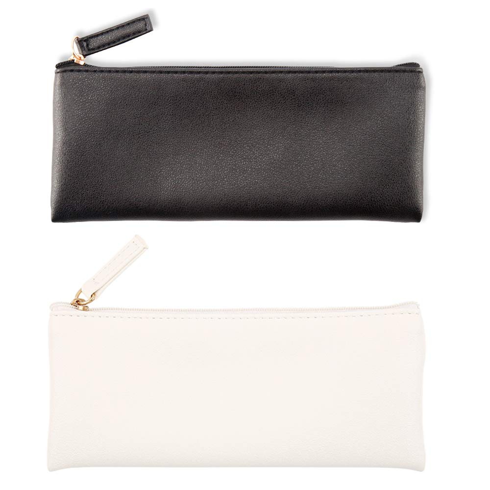 EONMIR PU Leather Pencil Case Pouch Bag, Small Simple Pencil Pouch, Makeup Pouch for Girls, Boys, School, Office(Black+White)