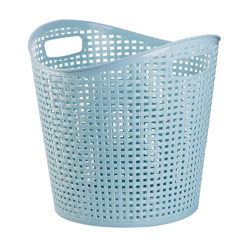bluee Small ZHANGQIANG Storage Basket Laundry Basket Curver Style Laundry Storage Hamper, Green bluee Pink (color   bluee, Size   Small)
