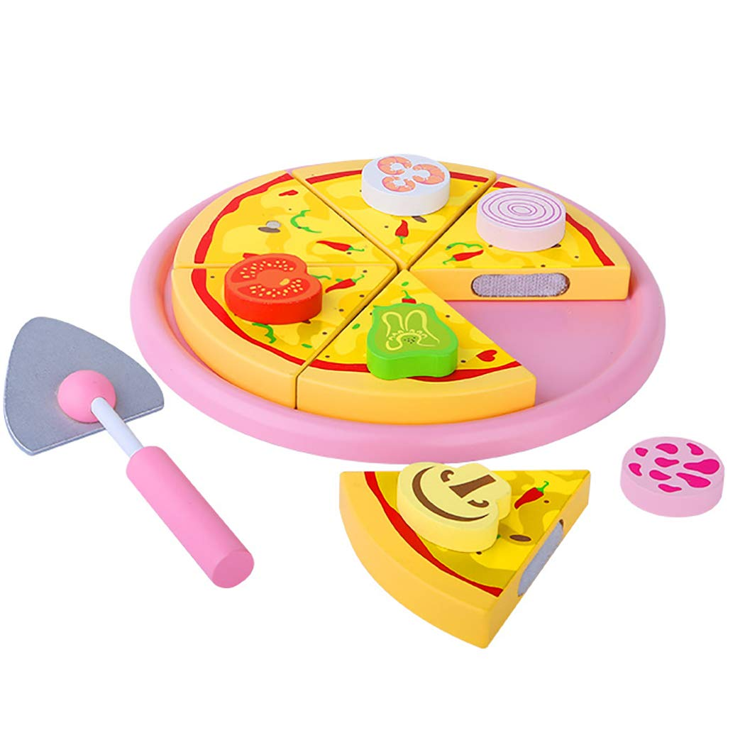 Play Food,Coxeer Simulation Pizza Set Realistic Pretend Play Wood Cutting Food Artificial Food Kitchen Toy for Kids Food Toy