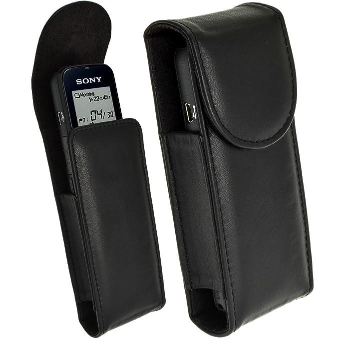igadgitz Negro Funda de Cuero Genuino Carcasa para Sony ICDUX533 Grabadora De Voz Digital