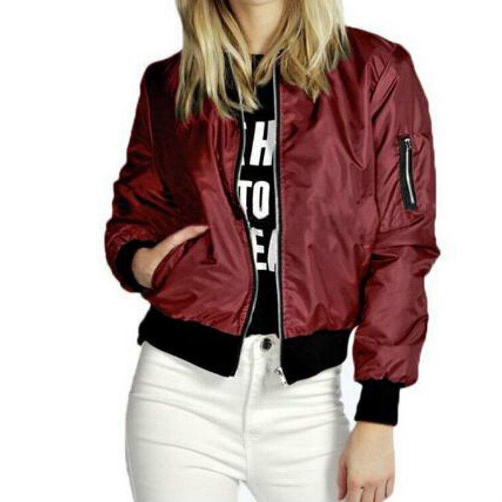 Womens Fashion Classic Quilted Jacket Short Bomber Jacket Coat size Large (Red)