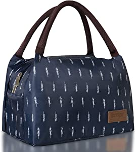 Buringer Reusable Insulated Lunch Bag Cooler Tote Box Meal Prep for Men & Women Work Picnic or Travel (Blue Feather Large Size)