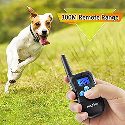 Petrainer 100% Waterproof Rechargeable Dog Shock Collar 330 yd Remote Dog Training Collar with Beep/Vibra/Shock Electric E-collar