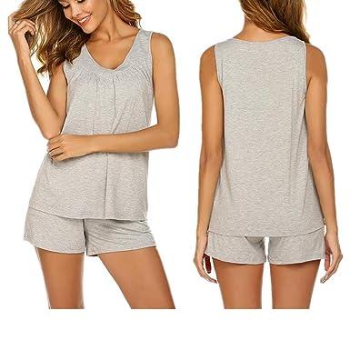 on sale b18df 9757e Unibelle Damen Nachthemd Ärmellos Schlafanzug Schlafhemd Pyjama Sleepshirt  Nachtwäsche