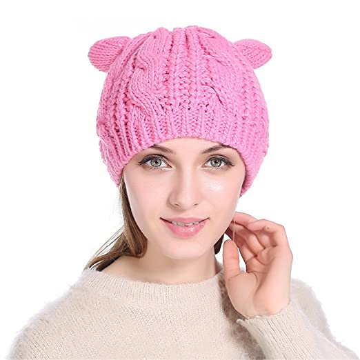 ca357d9c63df6 Amazon.com  GEANBAYE Soft Fabric Women s Hat Cat Ear Crochet Braided Knit  Caps  Home   Kitchen