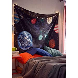 """Dremisland Outer Space Planet Moon Earth Stars Wall Hanging Wall Tapestry Home Art Decor Wall Decor for Kids Babys Children Bedroom Rooms Ceiling Living Room Nursery School (Large/ 59"""" x 79"""")"""
