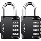 ORIA Combination Lock, 4 Digit Combination Padlock Set, Metal and Plated Steel Material for School, Employee, Gym or Sports Locker, Case, Toolbox, Fence, Hasp Cabinet and Storage, Pack of 2