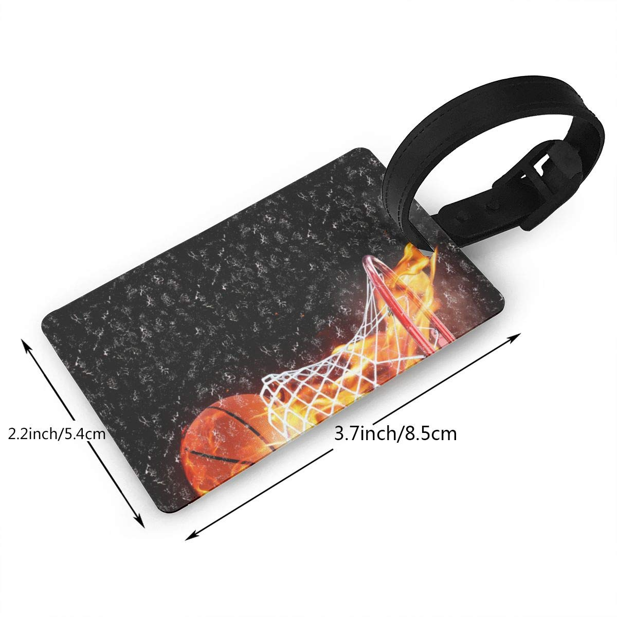 Sport Ball Flaming Basketball1 Luggage Tags Bag Travel Labels For Baggage Suitcase