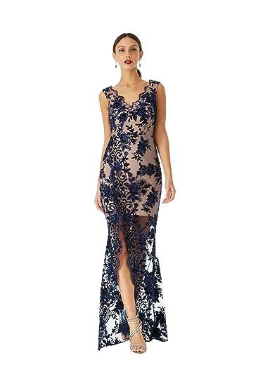 970b20dc7d21a Goddiva Embroidered V-Neck Split Maxi Dress  Amazon.co.uk  Clothing