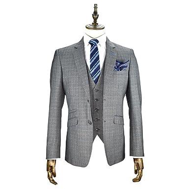 Cavani Hombre Edan 3 piezas traje de Tweed gris comprobar ...
