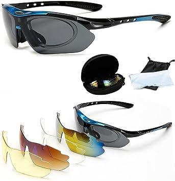 Wondder Gafas de Ciclismo 5 Lente de la Bicicleta Ciclismo Gafas de Sol Deportes al Aire Libre Gafas de Montar Bicicleta Ciclismo Gafas UV400 con Miopía Anillo Interior para Hombres Mujeres (Azul):