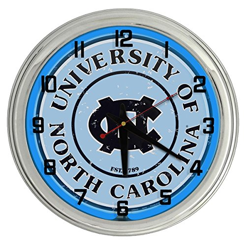 Redeye Laserworks University of North Carolina Tar Heels Blue Neon Clock ()