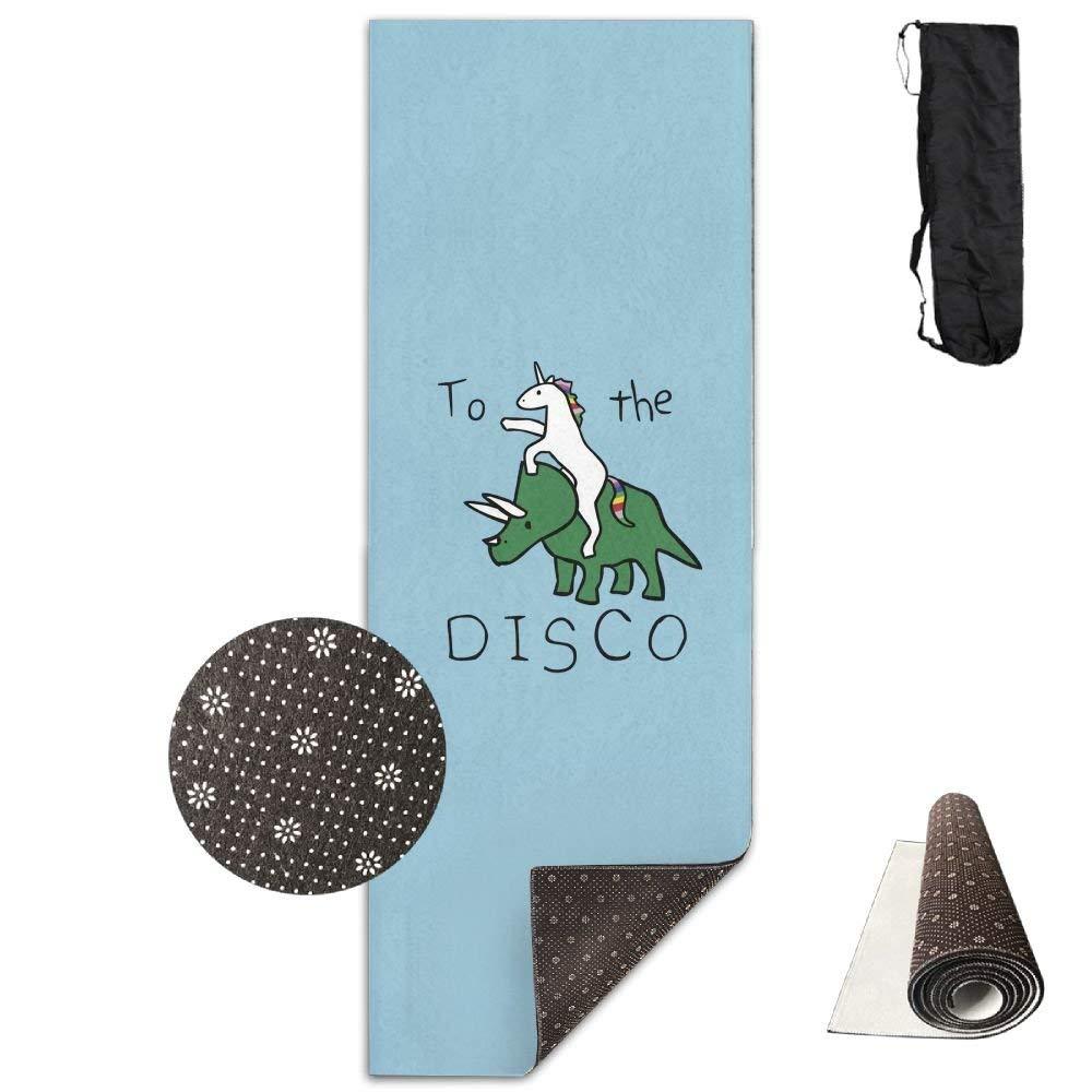 Non Slip Yoga Mat,Unicorn Rhinoceros to The Disco 3D Print 71X24 Inch Velvet with Carrying Strap