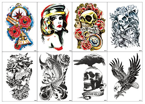 Nutrition Bizz Extra Large Temporary Tattoos Full Half Arm Tattoo Sleeves 20 Sheets for Men Women Teen Fake Tattoo Biker Tattoo Waterproof Stickers for Arms Shoulders Chest & Back by NutritionBizz (Image #1)