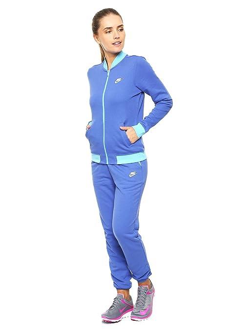 Nike W NSW TRK Suit Ft Chándal, Mujer, Azul Vivid Sky/Comet Blue ...