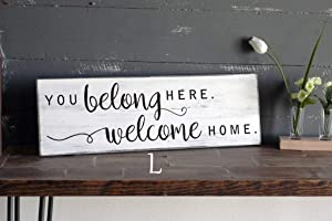 Rustic Wood Sign Wooden Plaque Wall Decor, You Belong Here, Welcome Home White Wood Sign