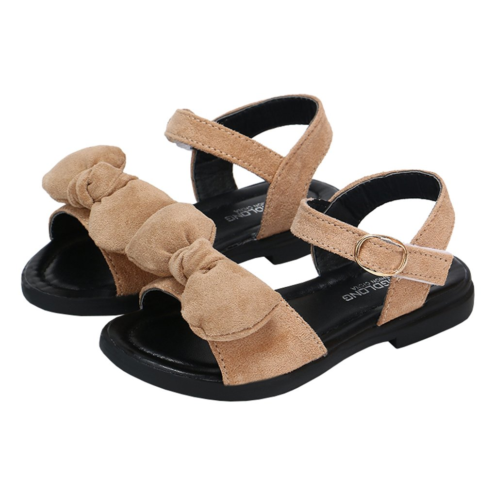 lakiolins Toddler Girls Open Toed Suede Bowknot Ankle Strap Flat Sandals Beach Shoes Light Brown Size 28