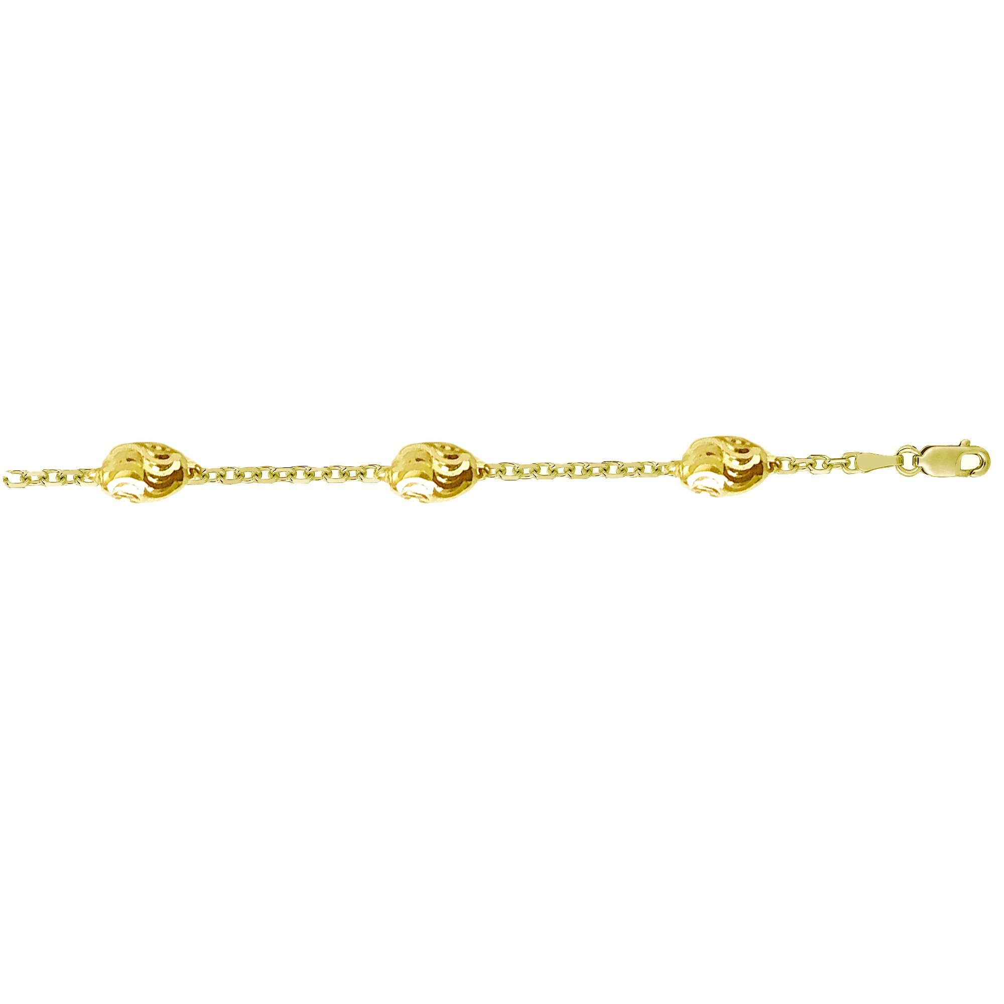 Sterling Silver or Gold-Tone Faceted Oval Barrel Bead Station Anklet by Ritastephens (Image #2)