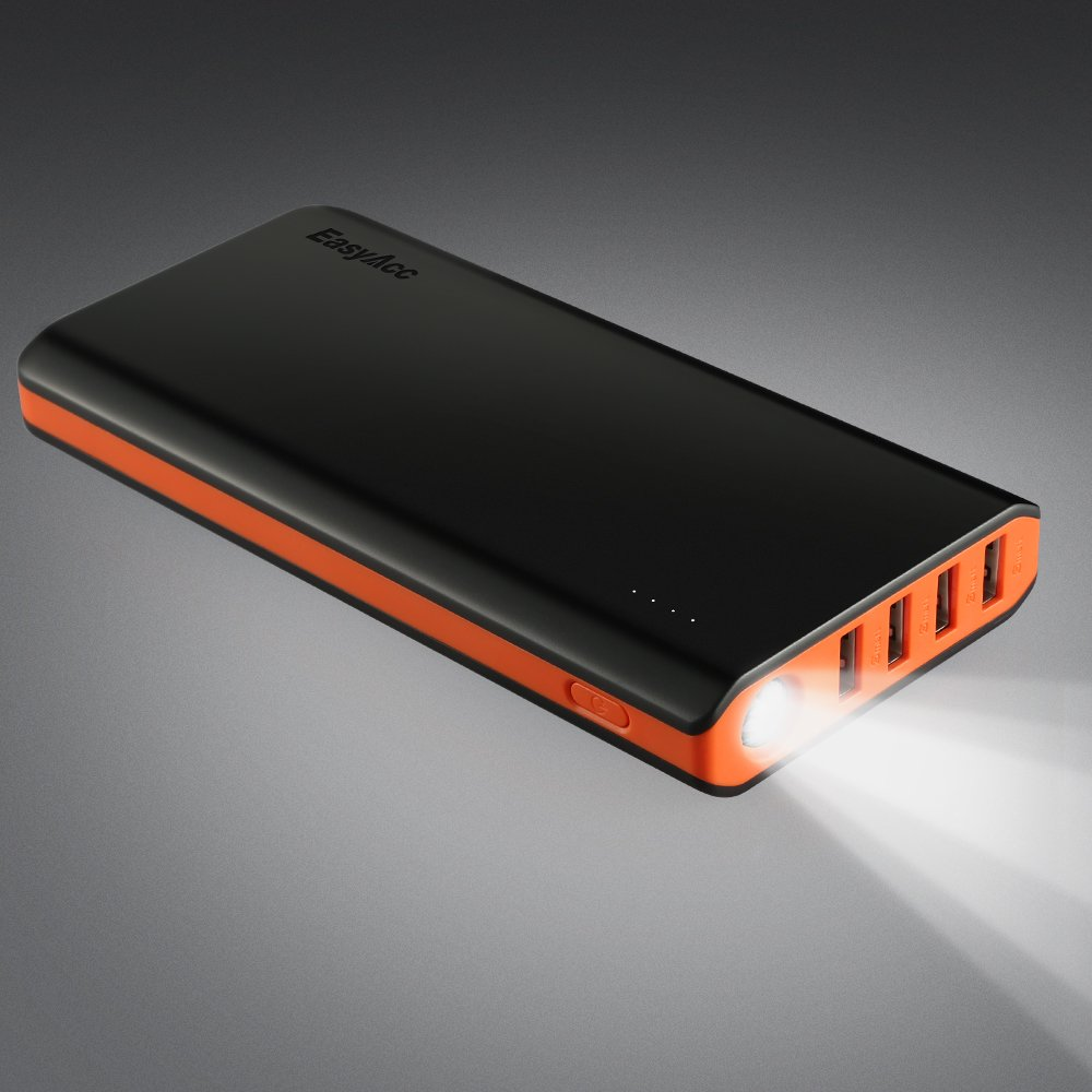 EasyAcc 20000mAh Portable Charger Fast Recharge Power Bank with 4A 2-Port Input 4.8A Smart Output High Capacity External Battery Pack for iPhone iPad Samsung Android - Black and Orange by EasyAcc (Image #5)