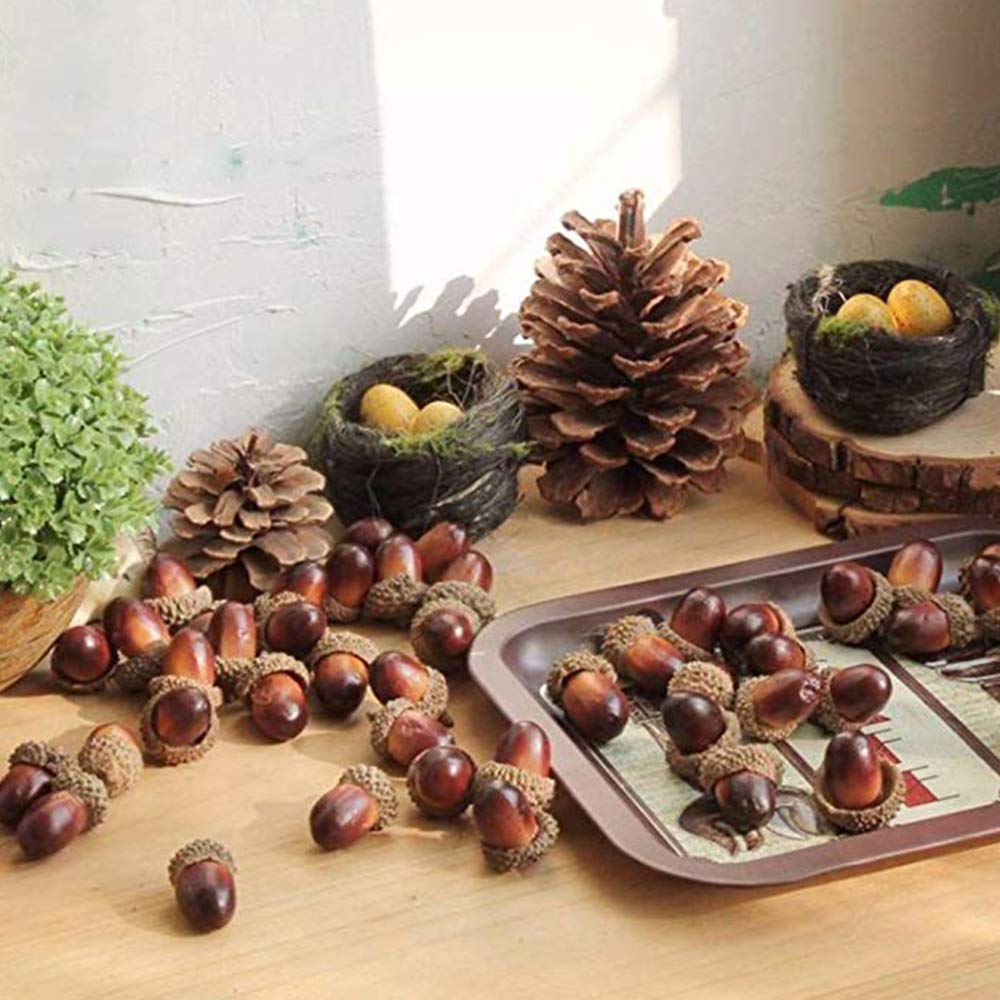 BigOtters Artificial Acorn, 100PCS Fake Nutty for Home Vase Filler Decor, 1.2\