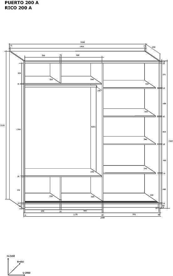 FurnitureByJDM Marca, Moderna, 2 Puertas, Armario Rico 160 cm-180 cm-200 cm Amplia, marrón, 200 cm: Amazon.es: Hogar