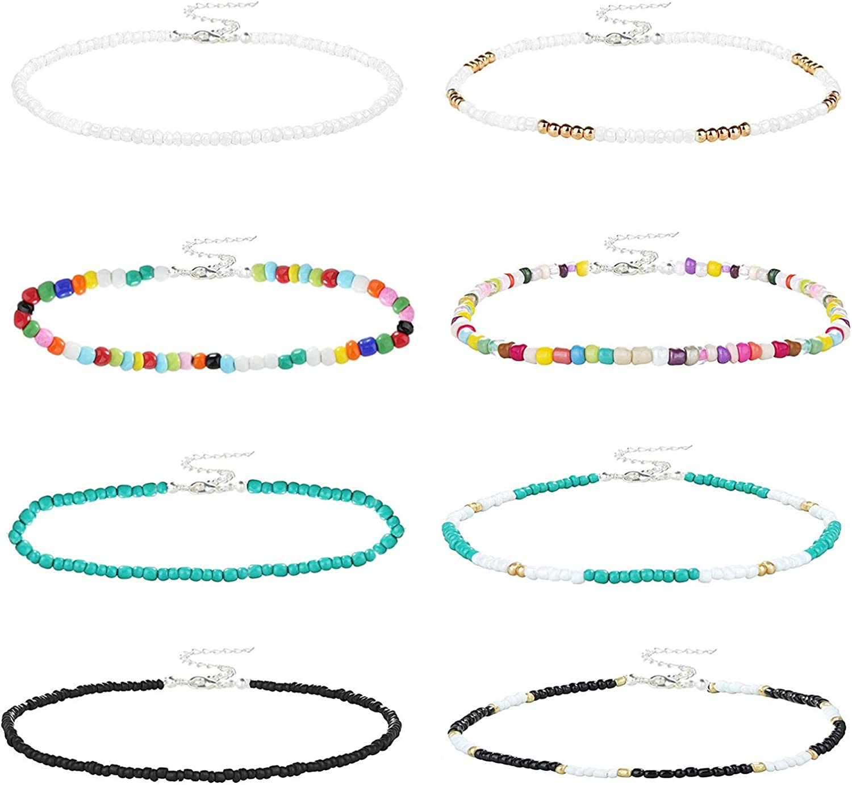YADOCA 8 Piezas Collar Gargantilla de Cuentas de Semillas Gargantilla Boho de Colores Joyería de Cadena para Mujeres Niñas Ajustable