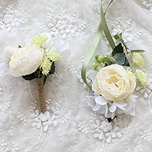 Florashop Satin Peony Blossom Succulent Corsage and Boutonniere Pack Wedding Bridal Bridesmaid Wrist Corsage Band Men's Groom Bridegroom Boutonniere for Wedding Prom Party Homecoming 117