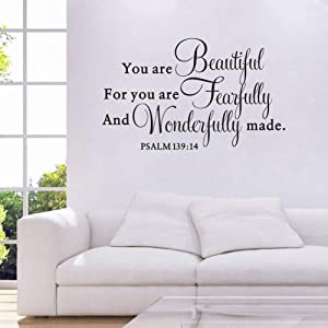 You are Beautiful for You are Fearfully and Wonderfully Make Quote Wall Decal, Living Room Prayer Sticker, Inspirational Typography Bless Decal Home Decoration