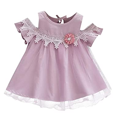 1ee4dc1c8467 YUAN Toddler Baby Girls Solid Bling Off Shoulder Tulle Skirt Floral Party  Princess Dresses Yellow