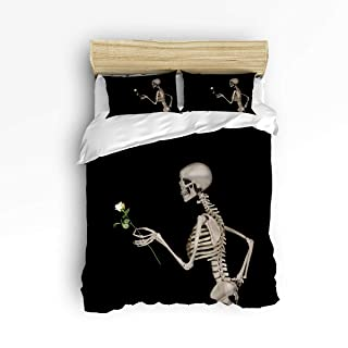 YEHO Art Gallery Soft Duvet Cover Set Bed Sets for Children Kids Girls Boys,3D Skul Skeleton Manl Hold a Rose Black Pattern Bedding Sets Home Decor,1 Comforter Cover with 2 Pillow Cases,Queen Size