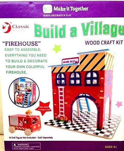 "Build a Village ""Firehouse"" Wood Craft Kit"