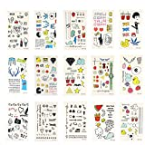 Xcellent Global Temporary Tattoos 15 Sheets Animals, Butterflies, Flowers, Hearts for Girls'Necklace,Bracelets,Arm Band and Ankle BT013