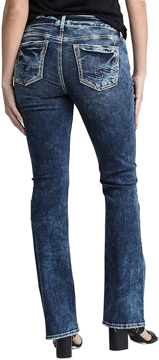 Silver Jeans Co. Womens Plus Size Elyse Relaxed Fit Mid Rise Bootcut Jeans Jeans Distressed Dark Indigo Wash