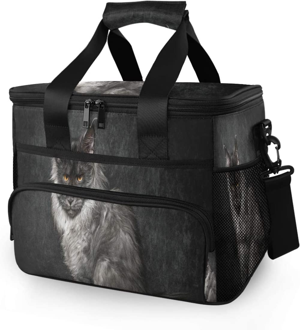 SLHFPX 15L Picnic Basket Keeps Food Hot/Cold for 12 Hours Lunch Tote Cat Maine Coon Insulated Picnic Cooler Bag for Grocery, Camping, Car,Travel, Shopping, Outdoor