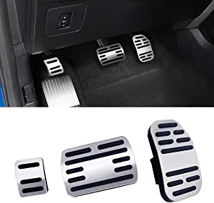 Jaronx No Drill Pedal Covers for Ford F150, Aluminum Alloy Anti-Slip Gas Pedal Cover Break Pedal Pad at Accelerator Pedal Covers for Ford F150 2015-2018,Ford Raptor 2017-2018(3PC Set)