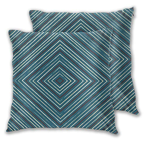 USHMX Pillow Case for Men Standard Size Set of 2, Parallel Symmetry Square Electric Blue Turquois Printed Pillow Cover Square Throw Decorative Cushion Pillow Cover -