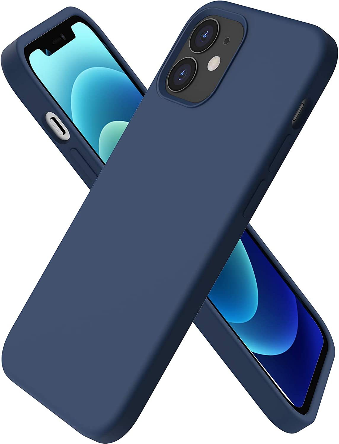 ORNARTO Compatible with iPhone 12 Mini Case, Slim Liquid Silicone 3 Layers Full Covered Soft Gel Rubber with Microfiber Case Cover 5.4 inch-Navy Blue