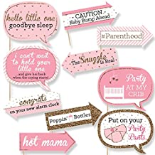 Funny Pink and Gold - Hello Little One - Girl Baby Shower Photo Booth Props Kit - 10 Count