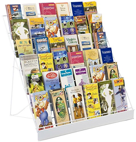 Displays2go Wire Countertop Literature Rack, 6-Tier Brochure Organizer, Open Shelf, White (WRC6T29WHT) (Tabletop Book)