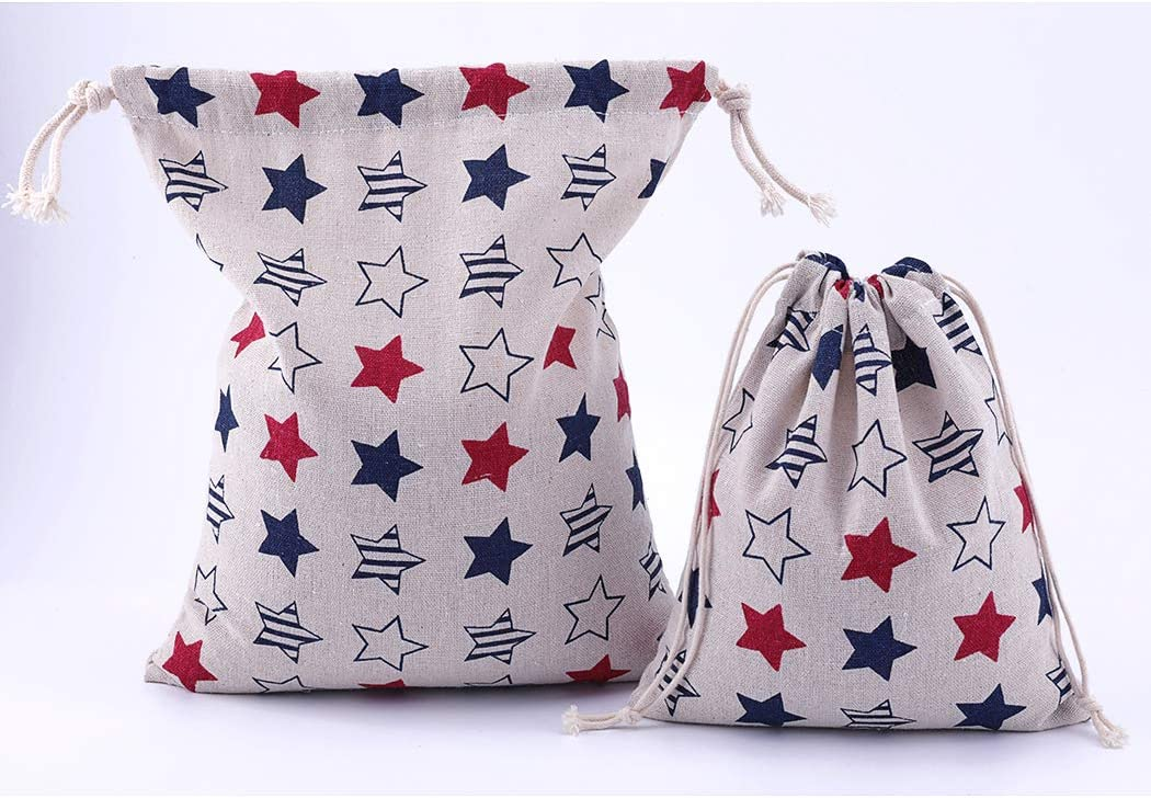 Canvas Fabric Pouch for Little Accessories Amoyie Drawstring Organiser Bag Set 3 pcs