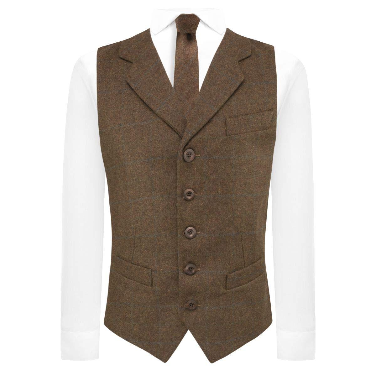 King /& Priory Cedar Brown Heritage Check Waistcoat with Lapel Tweed