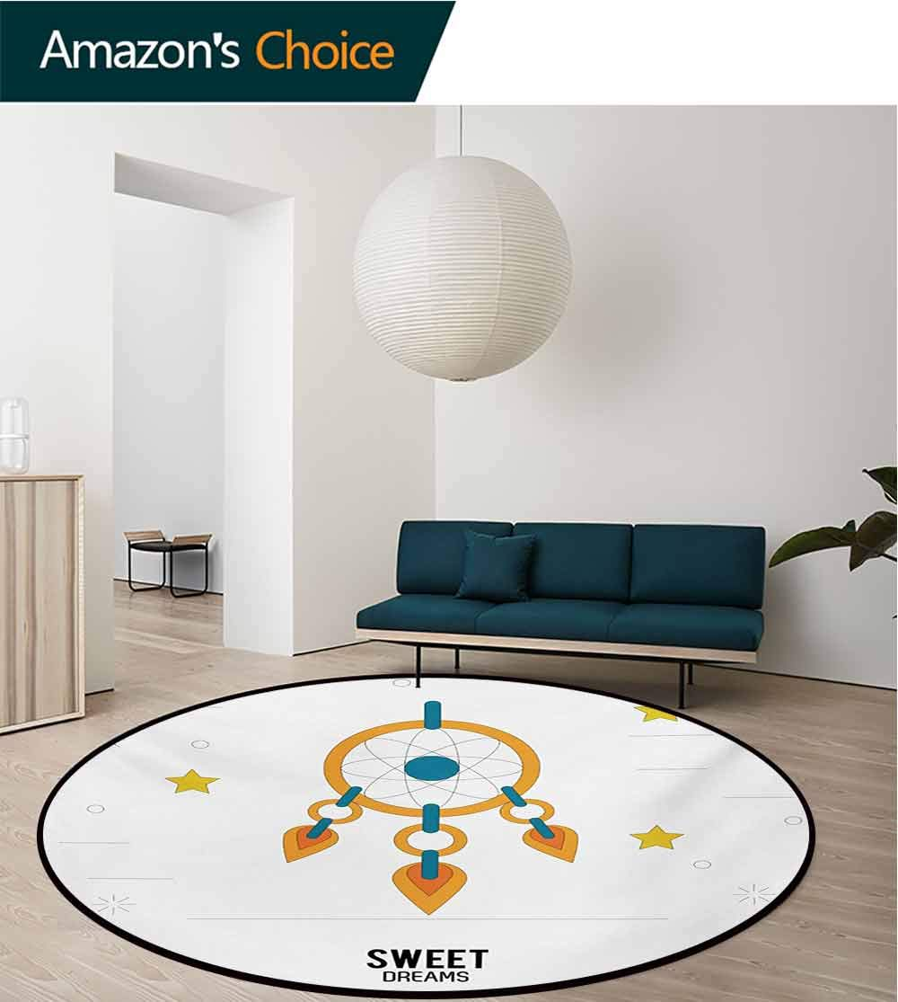 RUGSMAT Sweet Dreams Modern Washable Round Bath Mat,Dream Catcher Design with Stars Stripes Background Night Doodle Non-Slip Bathroom Soft Floor Mat Home Decor,Round-31 Inch Orange Yellow Petrol Blue by RUGSMAT (Image #3)