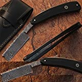 Custom Made Damascus Steel Straight Razor Buffalo Horn Handle w/ Sheath (Limited Edition)