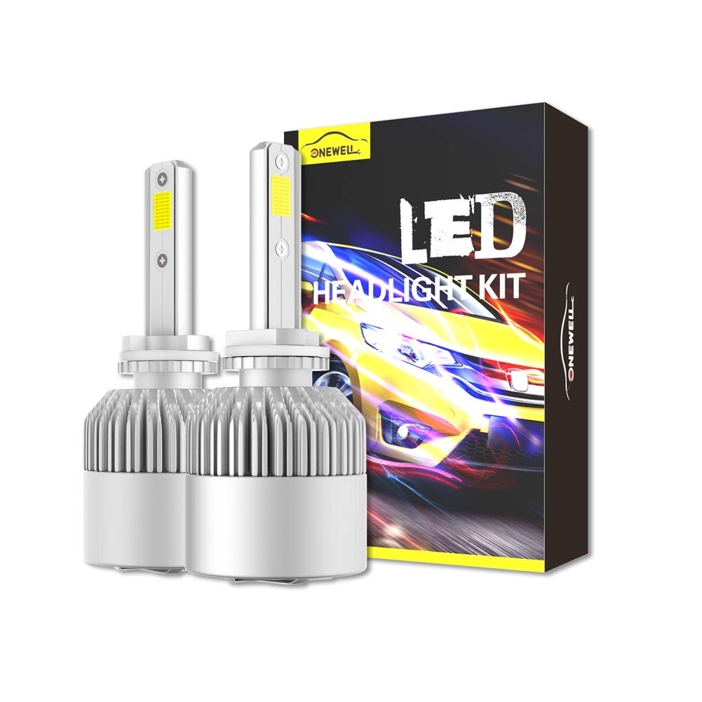 9005/HB3/H10 LED Headlight Bulbs, ONEWELL 60W 6000K 6000LM Extremely Bright Xenon White-Advanced COB Chips High Beam/Fog Light Bulbs Conversion Kit, 2-YEAR WARRANTY(Pack of 2)