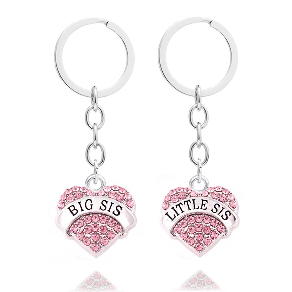 2pcs anillos de la cadena dominante del encanto del color de rosa de la hermana pequeña grande del encanto fijaron AK017TZ